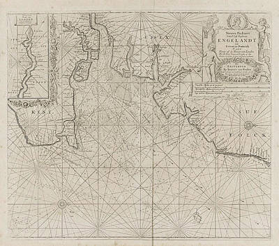 Sea Chart Of Part Of The East Coast Of England At The Mouth Art Print by Jan Luyken And Anonymous And Johannes Van Keulen (i)