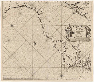 Georgetown Drawing - Sea Chart Of Part Of The East Coast Of The United States Usa by Jan Luyken And Claes Jansz Voogt And Johannes Van Keulen I