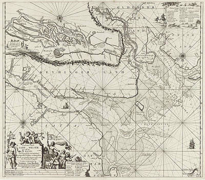 Chart Painting - Sea Chart Of Part Of The Elbe, The Weser And Jadebusen by Jan Luyken And Johannes Van Keulen I