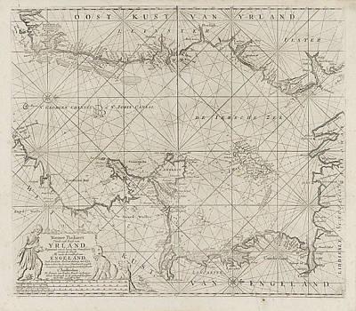 Herding Dog Drawing - Sea Chart Of Part Of The Irish Sea Between Ireland by Jan Luyken