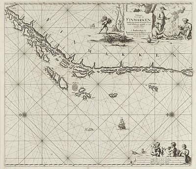 Sea Chart Of Part Of The Norwegian Coast Art Print by Jan Luyken And Johannes Van Keulen I