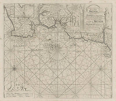 Fleur De Lis Drawing - Sea Chart Of Part Of The South Coast Of Brittany by Anonymous And Johannes Van Keulen (i)