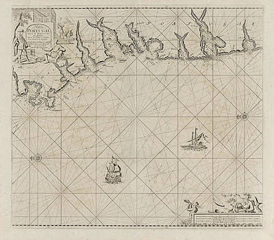 Sea Chart Of Part Of The South Coast Of Portugal Art Print by Jan Luyken And Anonymous And Johannes Van Keulen (i)