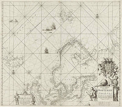 Whaling Drawing - Sea Chart Of The Baltic And North Sea, Jan Luyken by Jan Luyken And Johannes Van Keulen (i)