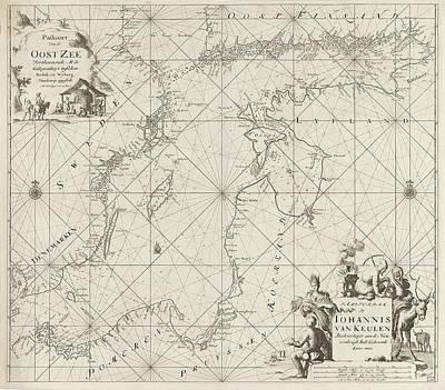 Sea Chart Of The Baltic Sea From Rostock To Vyborg Art Print by Jan Luyken And Johannes Van Keulen (i)