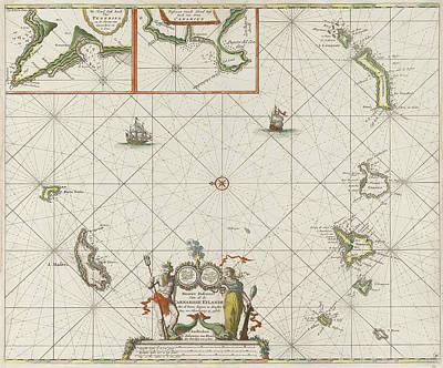 Canary Drawing - Sea Chart Of The Canary Islands, Print Maker Jan Luyken by Jan Luyken And Johannes Van Keulen I