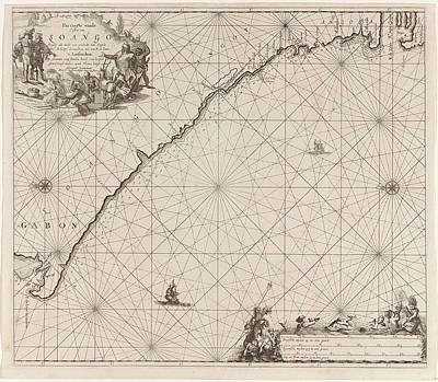 Gabon Drawing - Sea Chart Of The Coast Of Congo, Gabon And Angola by Gabon And Angola And Anonymous And Johannes Van Keulen (i)
