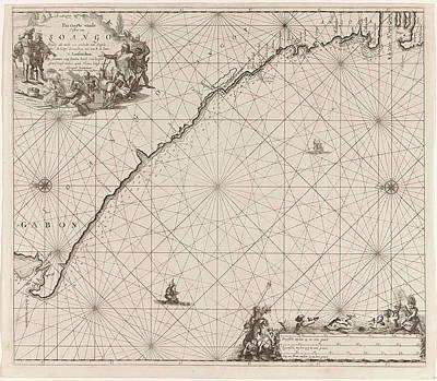 Gabon Drawing - Sea Chart Of The Coast Of Congo, Gabon And Angola by Gabon And Angola And Anonymous And Johannes Van Keulen (i)