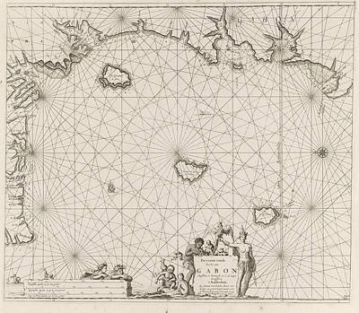 Gabon Drawing - Sea Chart Of The Coast Of Equatorial Guinea by Gabon And Cameroon And Jan Luyken And Johannes Van Keulen I