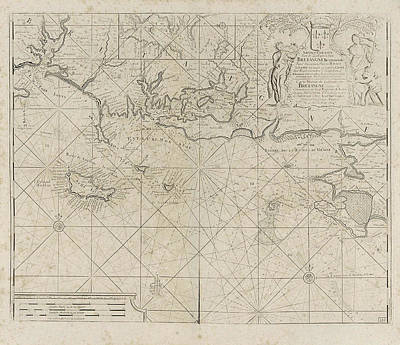 Sea Chart Of The Coast Of France Between The Island Art Print by Anonymous And Claes Jansz Voogt And Johannes Van Keulen I