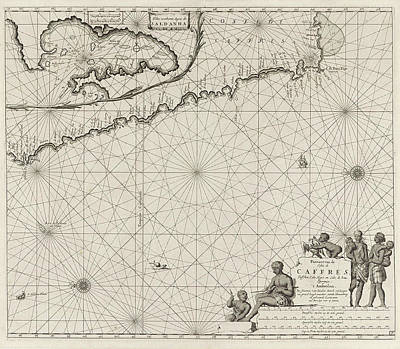 South Africa Drawing - Sea Chart Of The Coast Of Namibia And South Africa by Jan Luyken And Johannes Van Keulen (i)