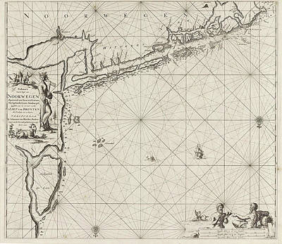 Hand Crafted Drawing - Sea Chart Of The Coast Of Norway Near Trondheim by Jan Luyken And Johannes Van Keulen (i)