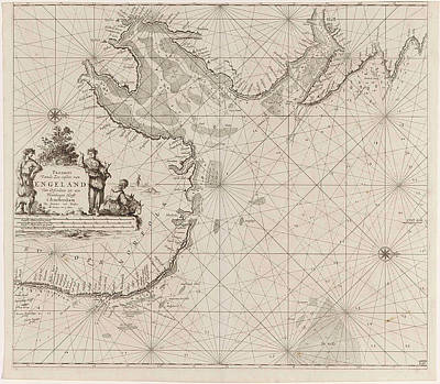 Herding Dog Drawing - Sea Chart Of The East Coast Of England, With The Mouth by Jan Luyken And Johannes Van Keulen (i)
