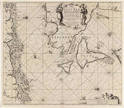 Siren Drawing - Sea Chart Of The Mouth Of The Gulf Of Finland In The Baltic by Jan Luyken And Johannes Van Keulen (i)