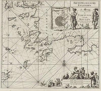 Sea Turtles Drawing - Sea Chart Of The Southeastern Part Of The Aegean Sea by Jan Luyken And Johannes Van Keulen I