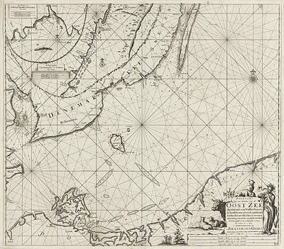 Trombone Drawing - Sea Chart Of The Southern Part Of The Baltic Sea by Jan Luyken And Johannes Van Keulen I