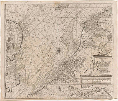 North Sea Drawing - Sea Chart Of The Southern Part Of The North Sea And Part by Gerard Van Keulen And Johannes Van Keulen (i)