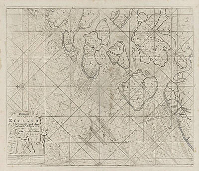 Zeeland Drawing - Sea Chart Of The Zeeland Islands And Part Of The North Sea by Jan Luyken And Anonymous And Johannes Van Keulen (i)