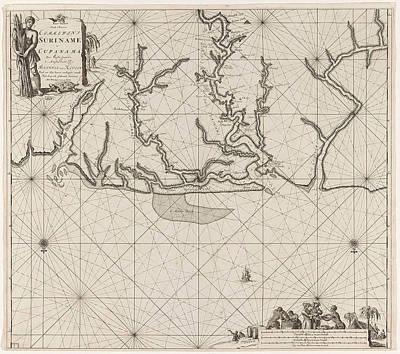 Sea Turtles Drawing - Sea Chart Of Various Surinamese Rivers, Jan Luyken by Jan Luyken And Johannes Van Keulen (i)