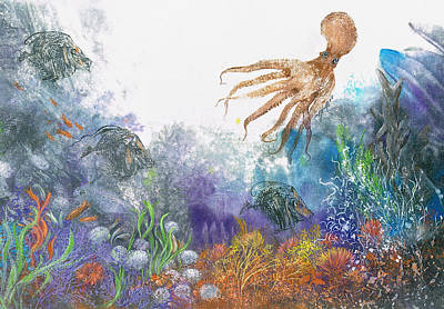 Sea Coral And Octopus Art Print