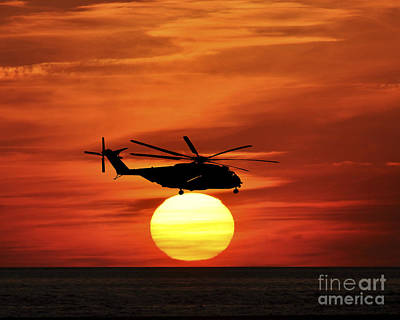 Sikorsky Photograph - Sea Dragon Sunset by Al Powell Photography USA