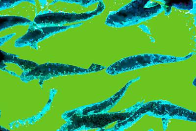 Abstract Fish Digital Art - Sea Dreams 1 Green by Scott Campbell