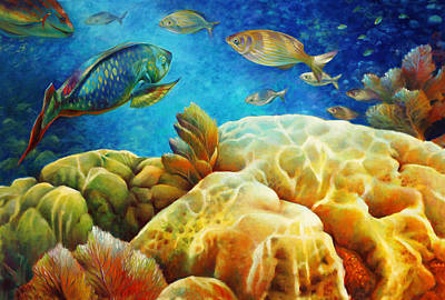 Brain Coral Painting - Sea Escape I -27x40 by Nancy Tilles