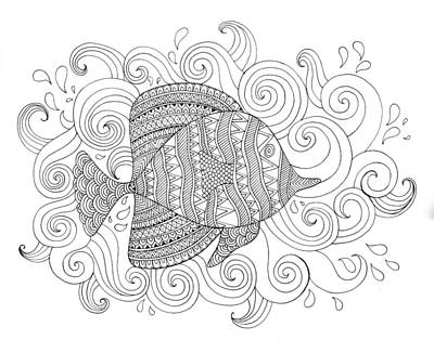 Intricate Drawing - Sea Fish 1 by Neeti Goswami