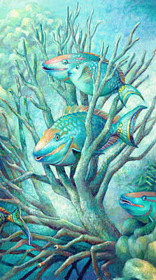 Sea Folk II - Parrot Fish Art Print by Nancy Tilles