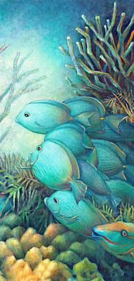 Brain Coral Painting - Sea Folk IIi - Blue Tang by Nancy Tilles