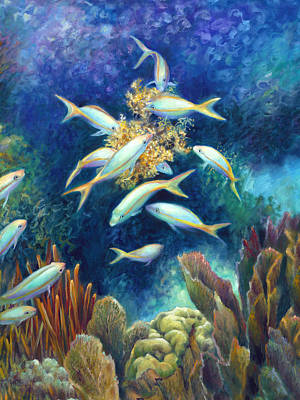 Sea Food Chain - Feeding Frenzy Art Print by Nancy Tilles