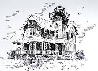 Nj Drawing - Sea Girt Lighthouse  by Melinda Saminski