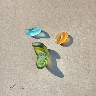 Drawing - Sea Glass - Trio by Elena Kolotusha