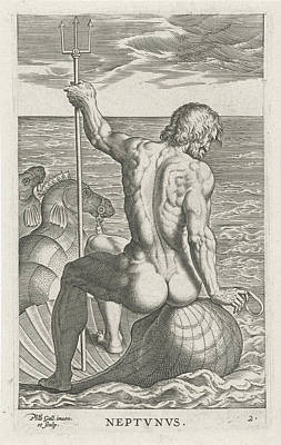 Sea God Neptune, Philips Galle Art Print