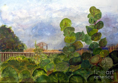 Landscapes Painting - Sea Grapes At Atlantic Dunes by Donna Walsh