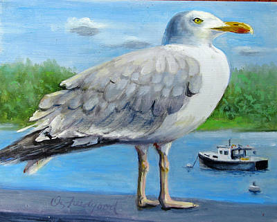 Painting - Sea Gull On Alert by Oz Freedgood