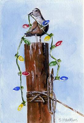 Pilings Painting - Sea Gull With Holiday Lights by Sheryl Heatherly Hawkins
