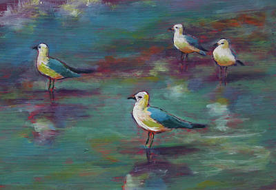 Sea Gulls Beach Bums Art Print