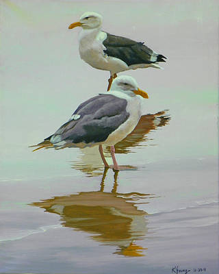 Sea Gulls Art Print by Kenneth Young