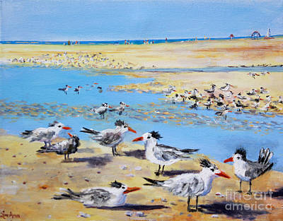 Painting - Sea Gulls Siesta Key Beach by Lou Ann Bagnall
