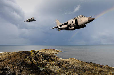 Digital Art - Sea Harriers Over The Falklands by Gary Eason