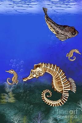 Puffer Digital Art - Sea Horse by Karen Sheltrown