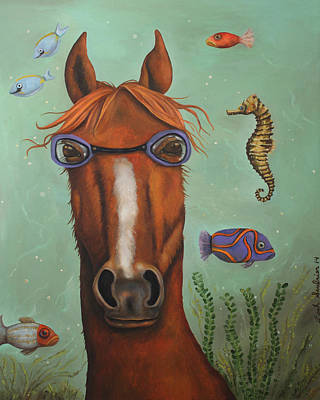 Scuba Painting - Sea Horse  by Leah Saulnier The Painting Maniac