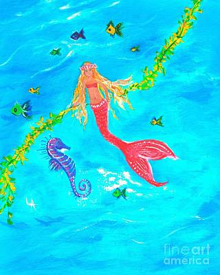 Painting - Sea Horse Play Day by Leslie Allen