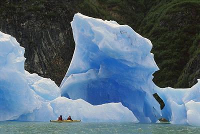 Sea Kayaking With Icebergs Tracy Arm Art Print by Shaun Barnett