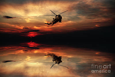 Sea King Sunset  Art Print by J Biggadike