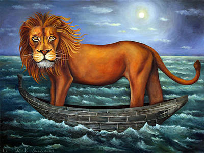 Sea Moon Full Moon Painting - Sea Lion Bolder Image by Leah Saulnier The Painting Maniac