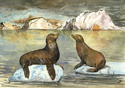 Sea Lions Painting - Sea Lions by Juan  Bosco