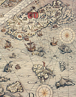 Sea Map By Olaus Magnus Art Print by Olaus Magnus