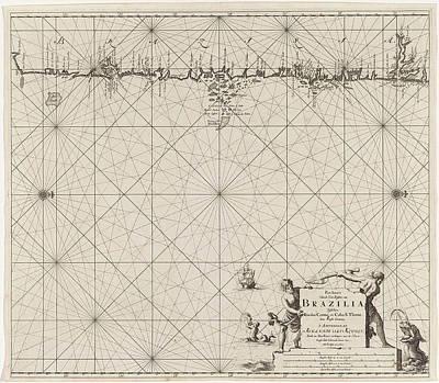 Data Drawing - Sea Map Of Part Of The Coast Of Brazil, Jan Luyken by Jan Luyken And Claes Jansz Voogt And Johannes Van Keulen I